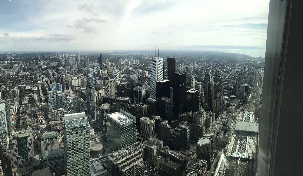 View of downtown Toronto from the top of the CN Tower