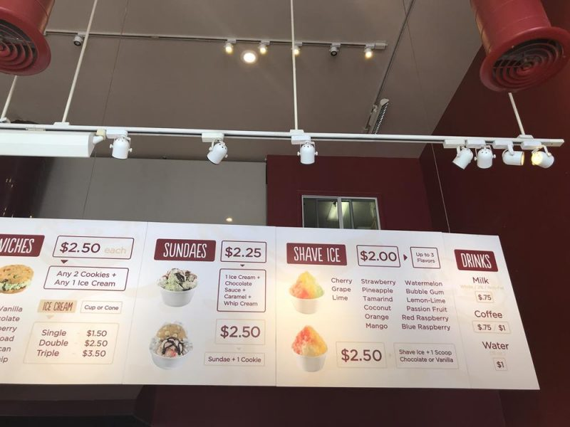 Diddy Riese menu options and prices