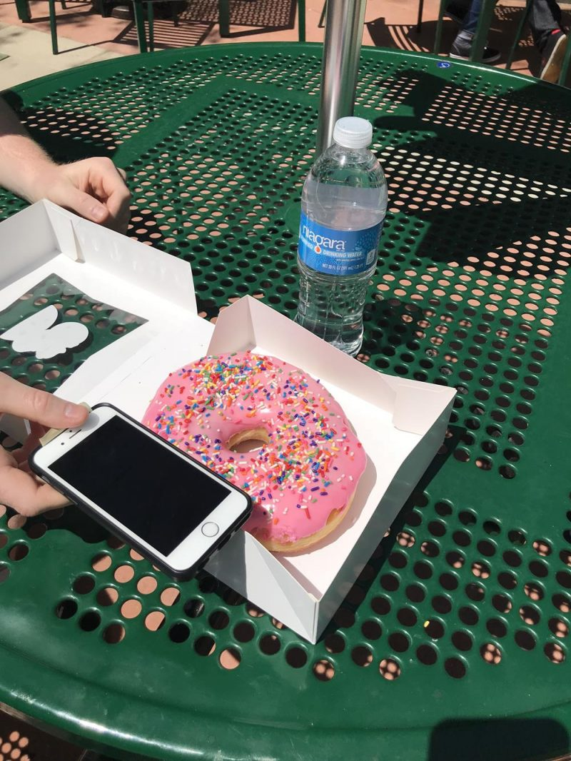 Springfield iced donut with phone for scale purposes