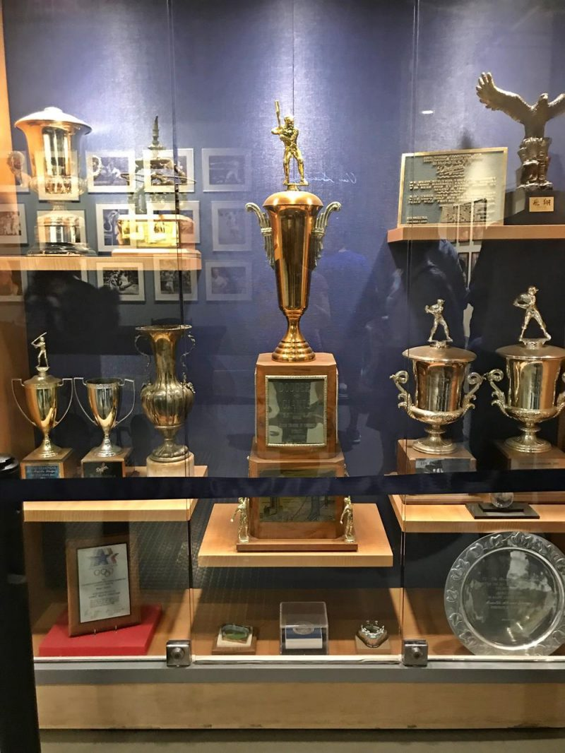 Trophy cabinet at the Dodger Stadium