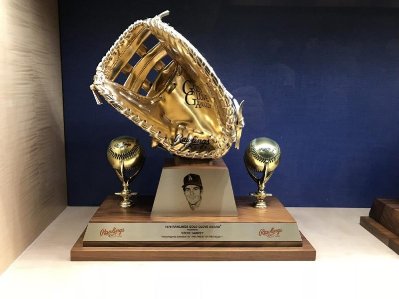 Gold baseball mitt trophy at the Dodgers Stadium
