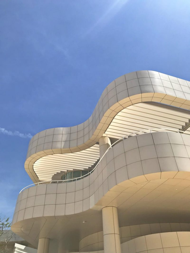 Curvy white building at the Getty Center which was top of our list of the best things to do in Los Angeles