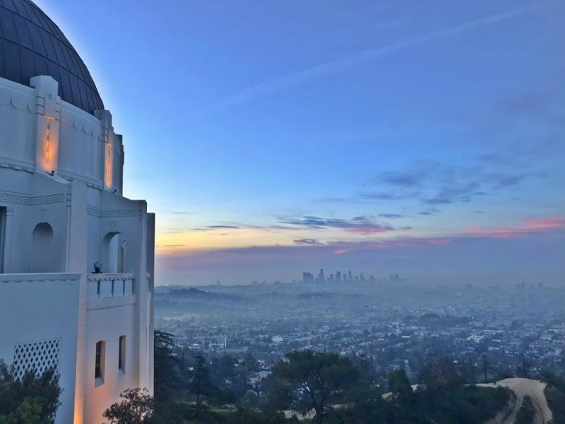 The view of LA from the side of the Griffith Observatory at sunrise