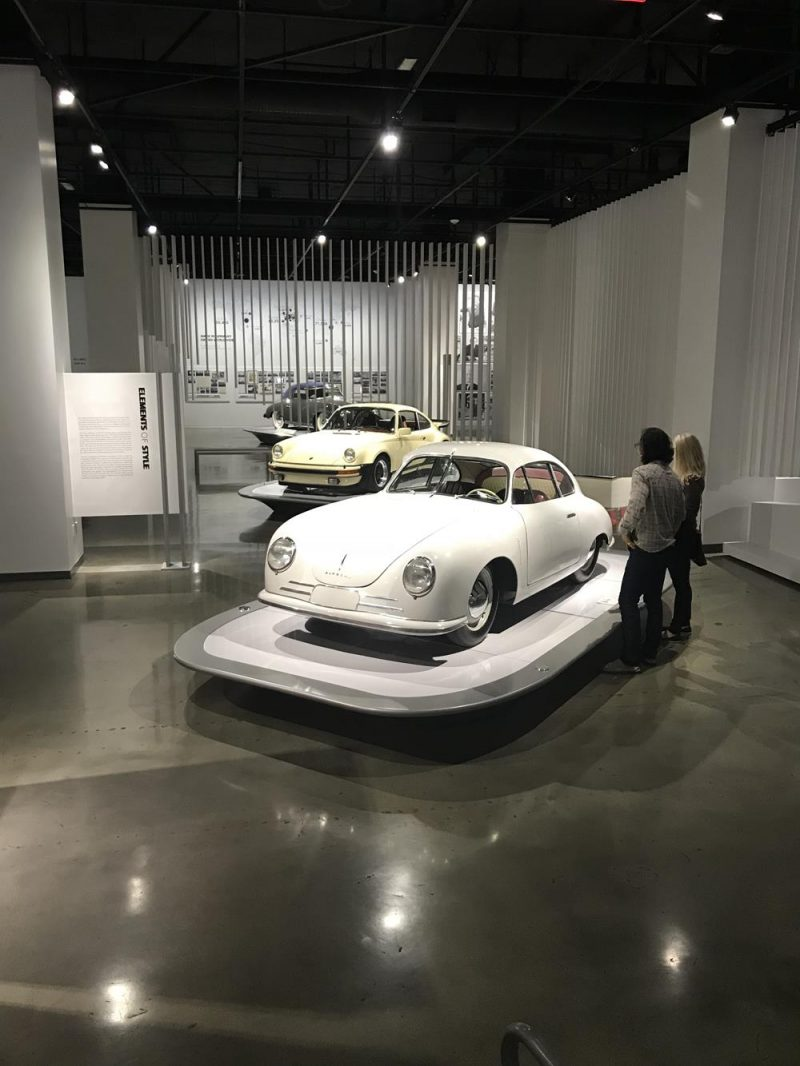 White and cream Porsche at the Petersen Museum