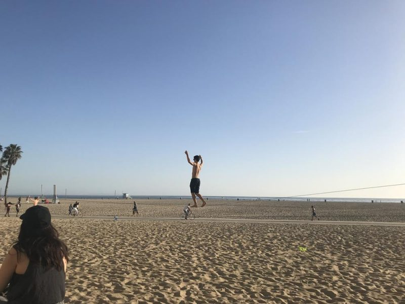 Tightrope walker at Santa Monica beach
