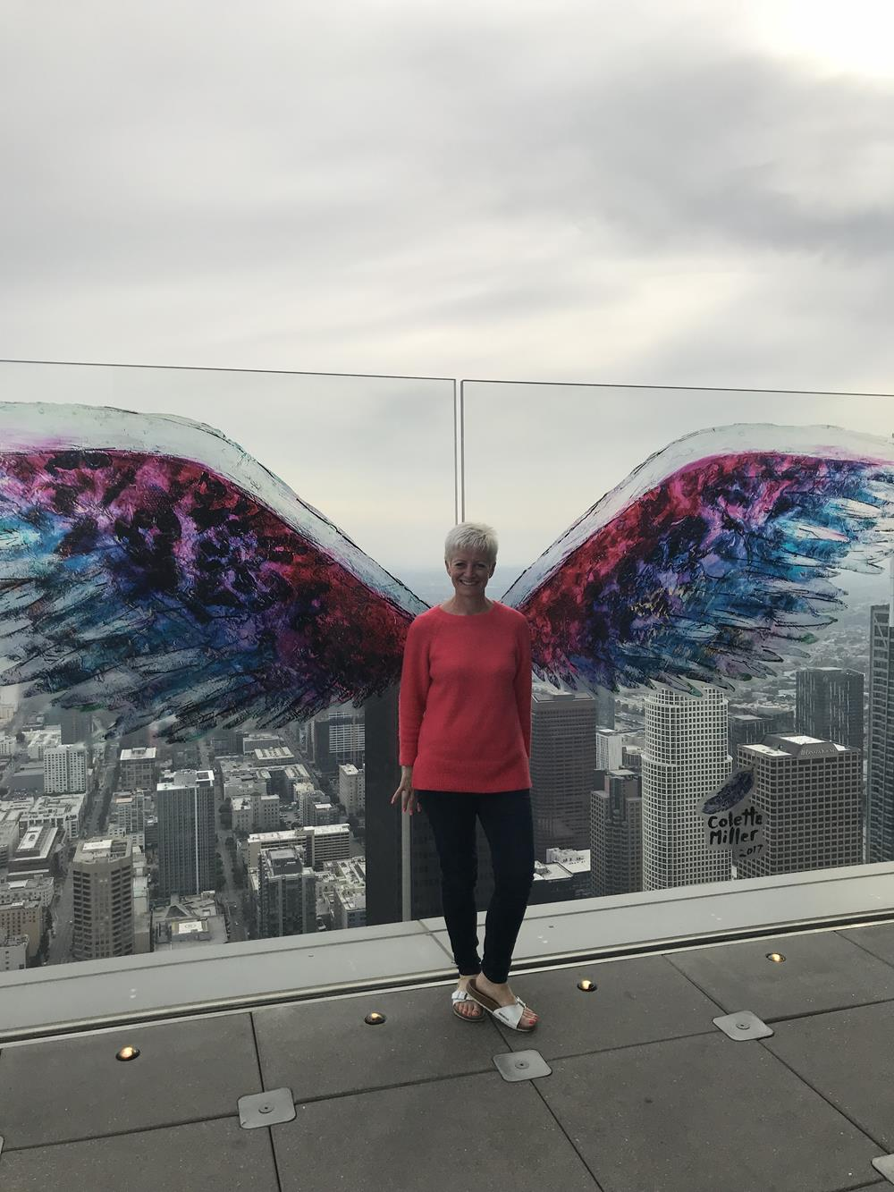 Collette Miller wings at the top of the OUE Skyspace building