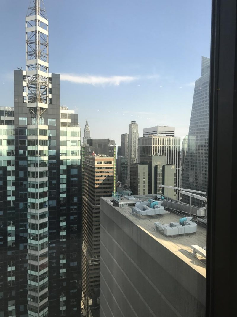 View of Chrysler Building from revolving restaurant on the 48th floor of the New York Marriott hotel