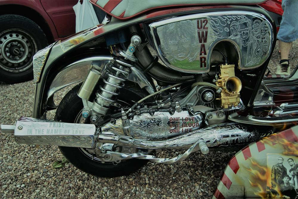 Chrome Lambretta engine from the custom scooter Unforgettable Fire