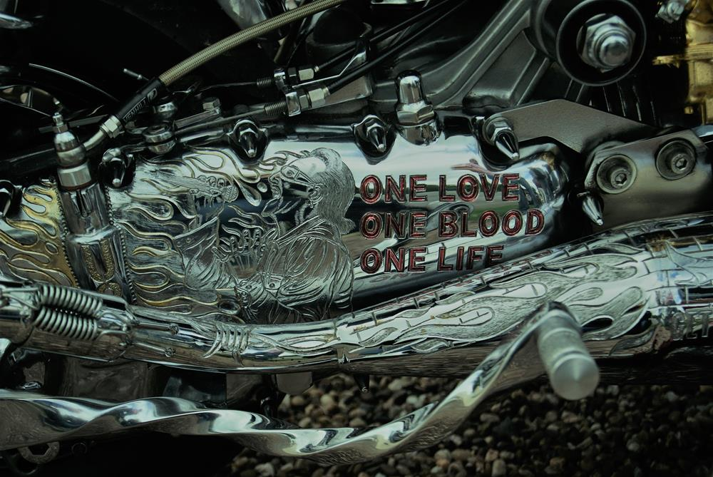 Chromed and engraved Lambretta engine casing