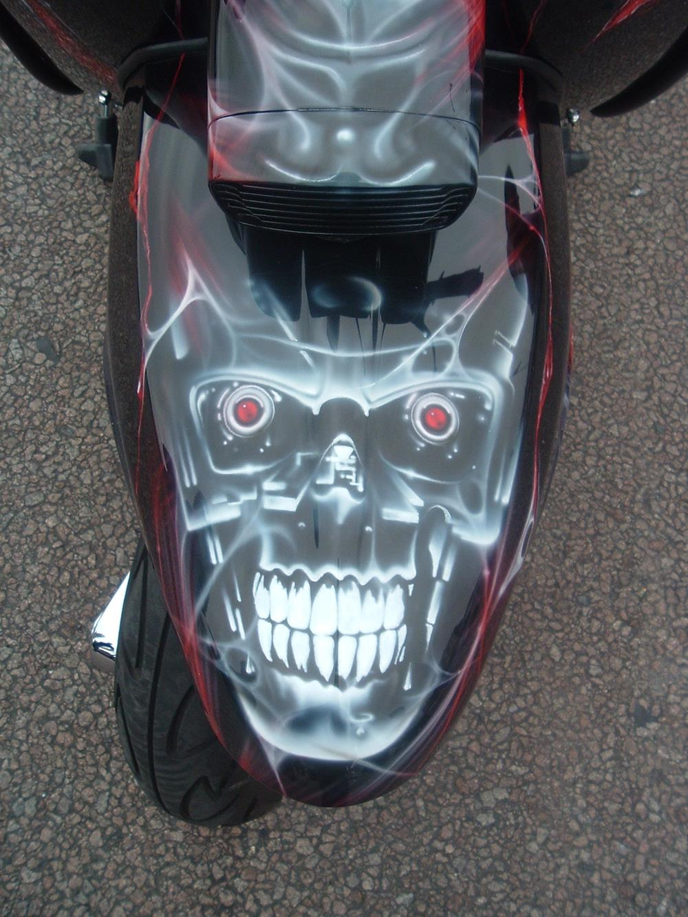 Lambretta front mudguard with horror-themed mural