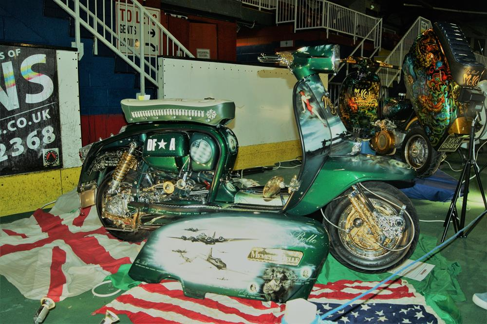 Custom Lambretta featuring a Memphis Belle theme