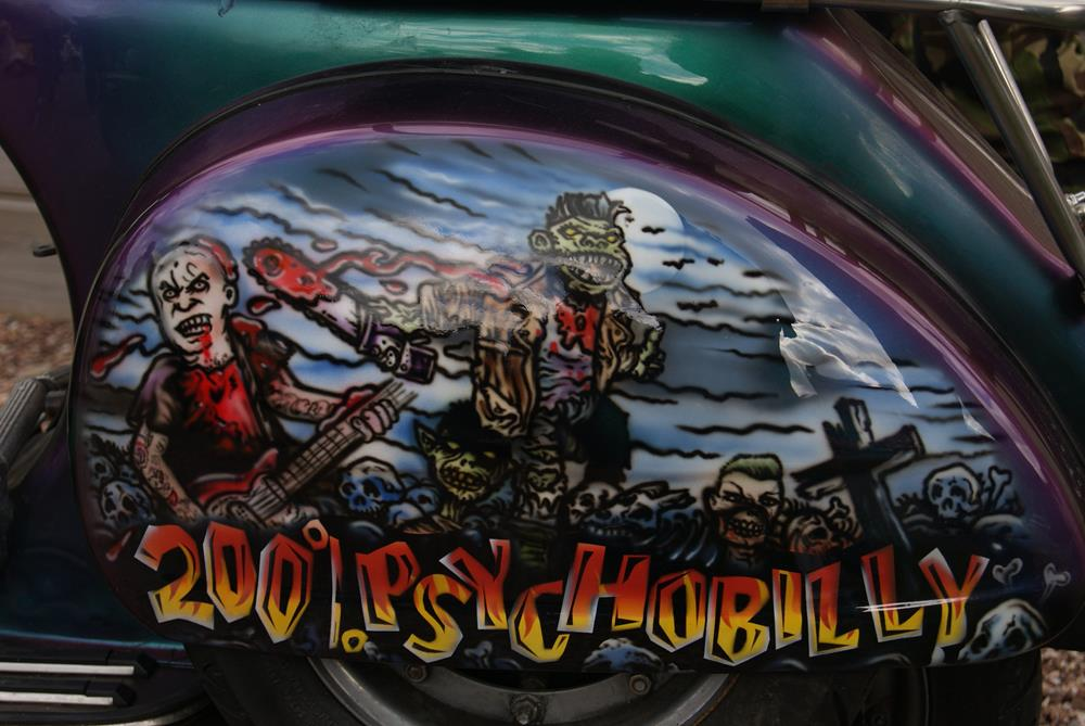 Psychobilly side panel on custom scooter