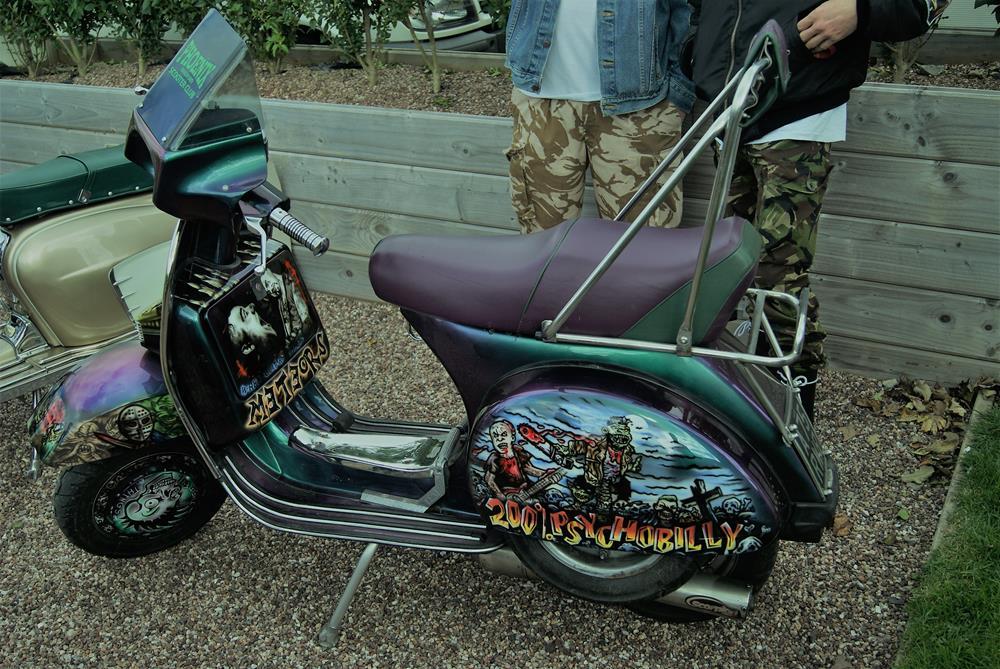 Psychobilly themed custom Vespa scooter