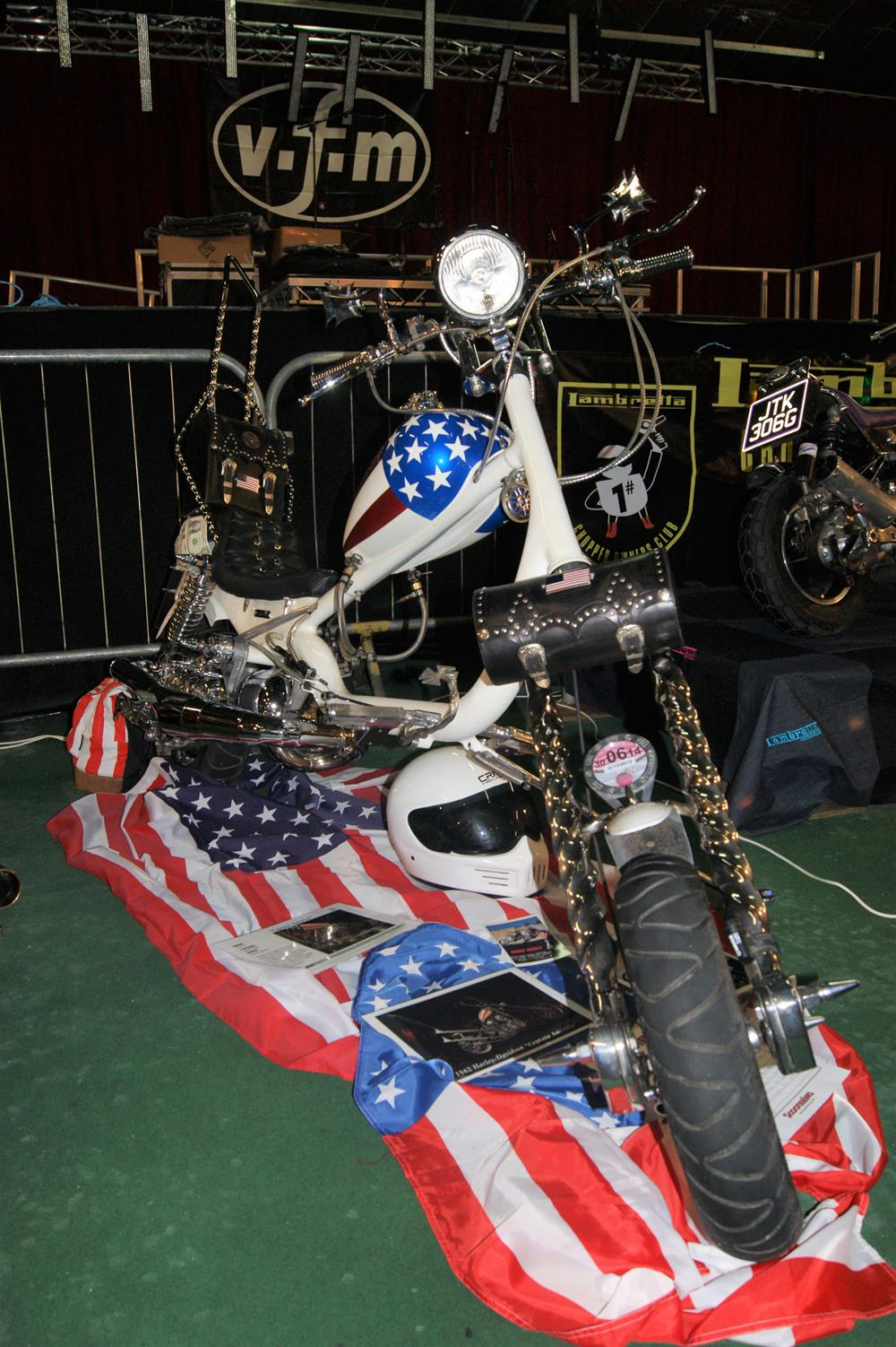 USA themed Lambretta chopper on display at the Isle of Wight scooter rally custom show