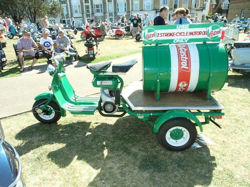 Green Lambretta with oil tank on trailer