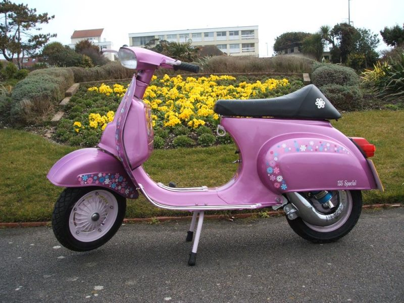 Side view of pink scooter called Va Va Vroom