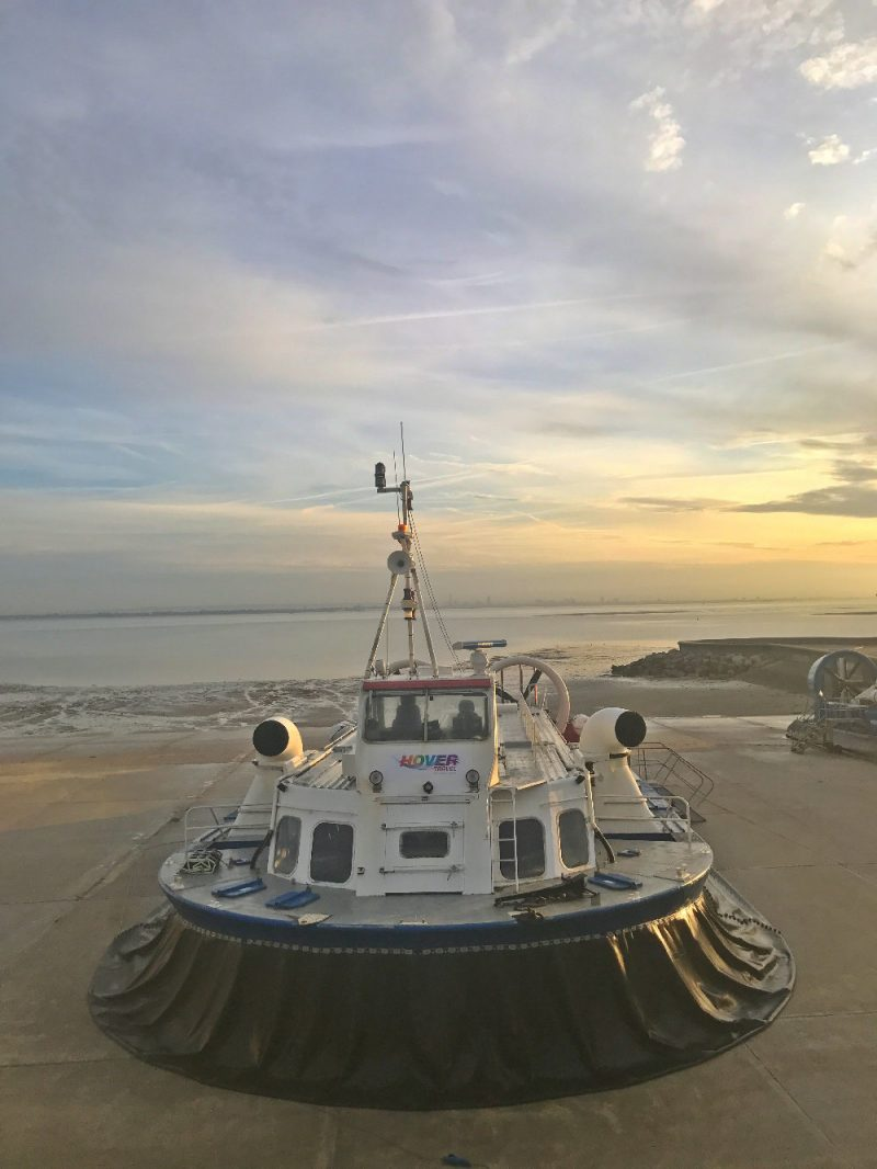 Isle of Wight hovercraft parked on the beach at Ryde
