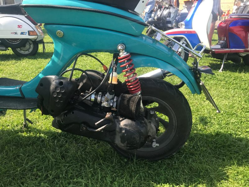 View of turquoise Lambretta vega engine