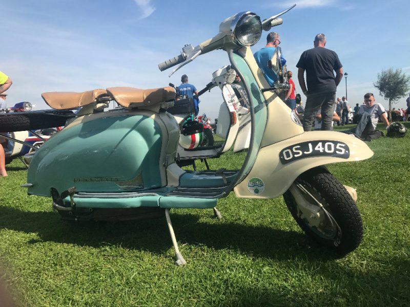 Restored Lambretta Series 1 with cream horn cover and mudguard and duck egg blue panels