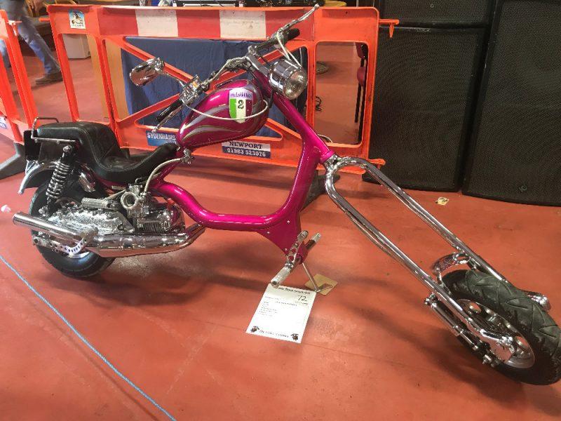 Illusion, a bright pink custom Lambretta chopper at the Smallbrook Stadium custom show