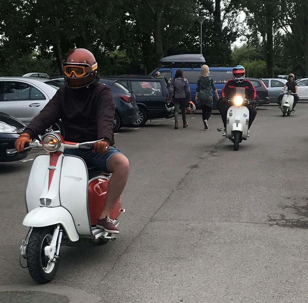 Lambrette rider arriving at Hayling Island scooter rally 2018