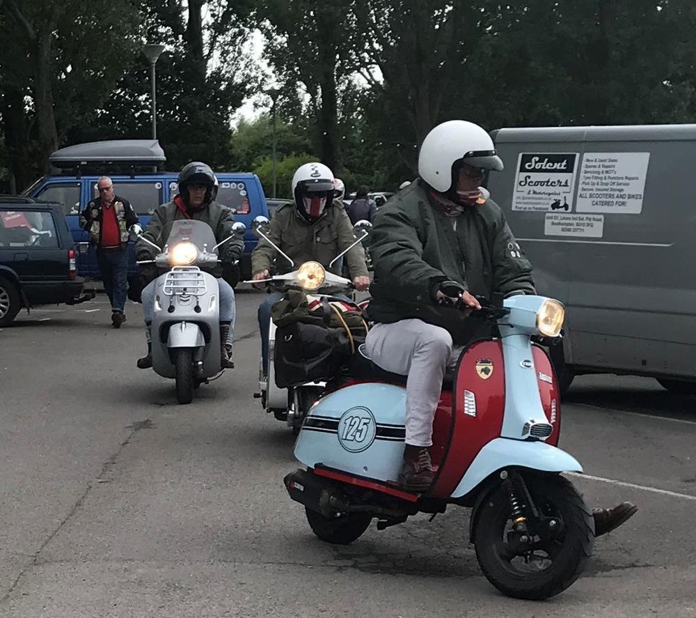 Riders arriving at Hayling Island scooter rally