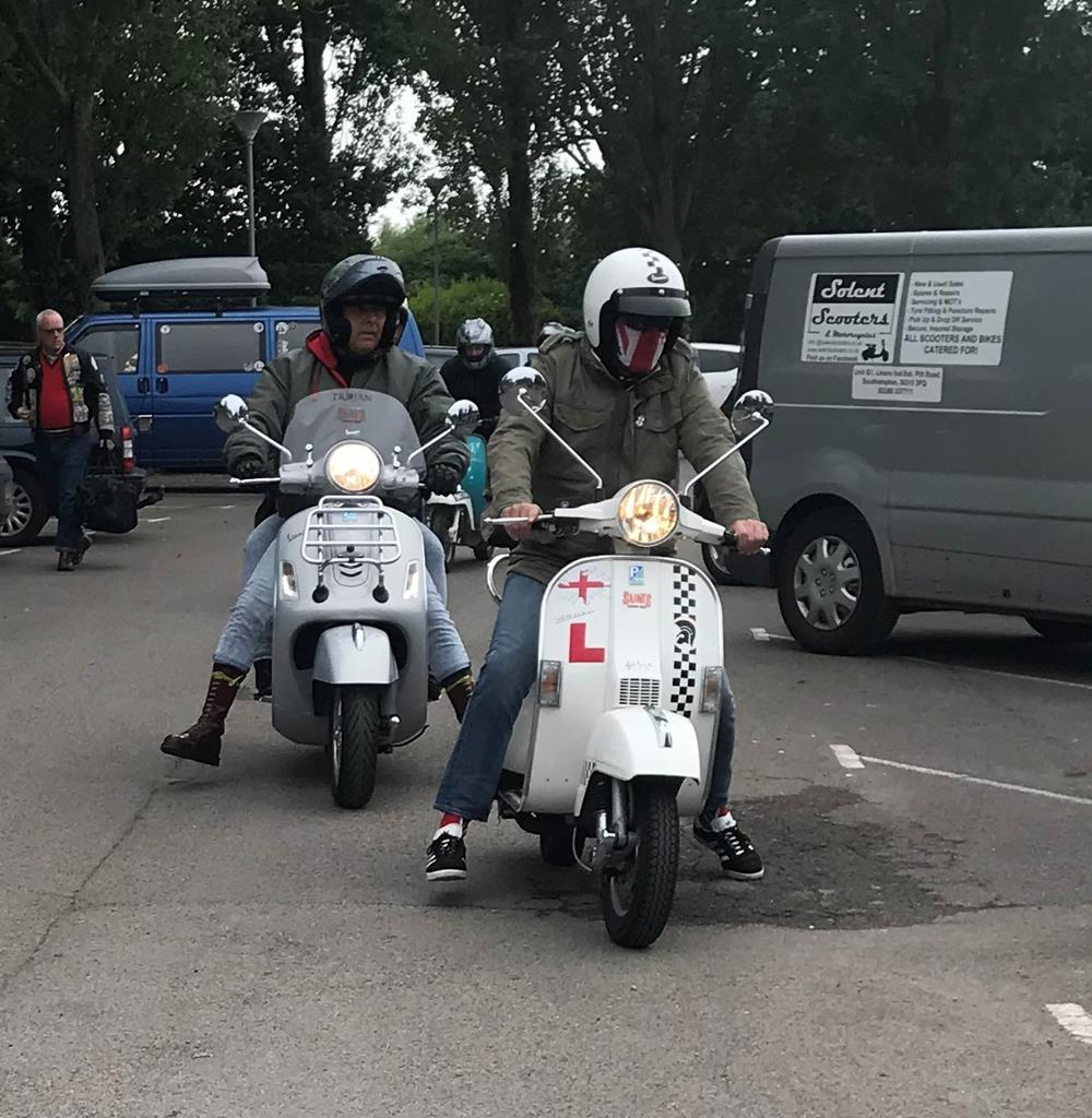 Scooter riders arriving at Hayling Island scooter rally