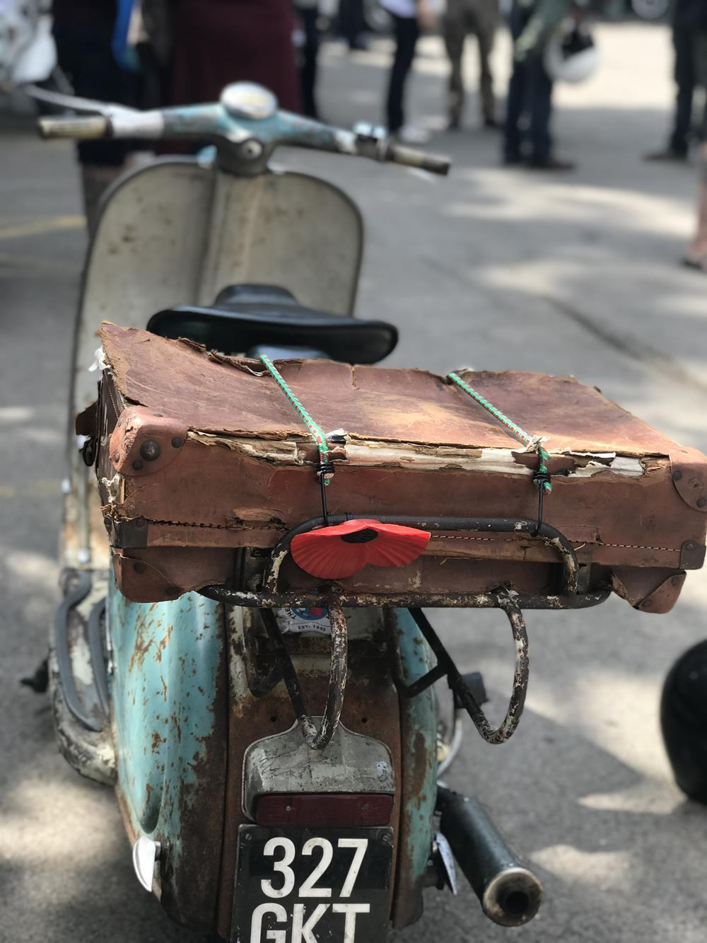 Series 1 Lambretta with suitcase strapped to the back
