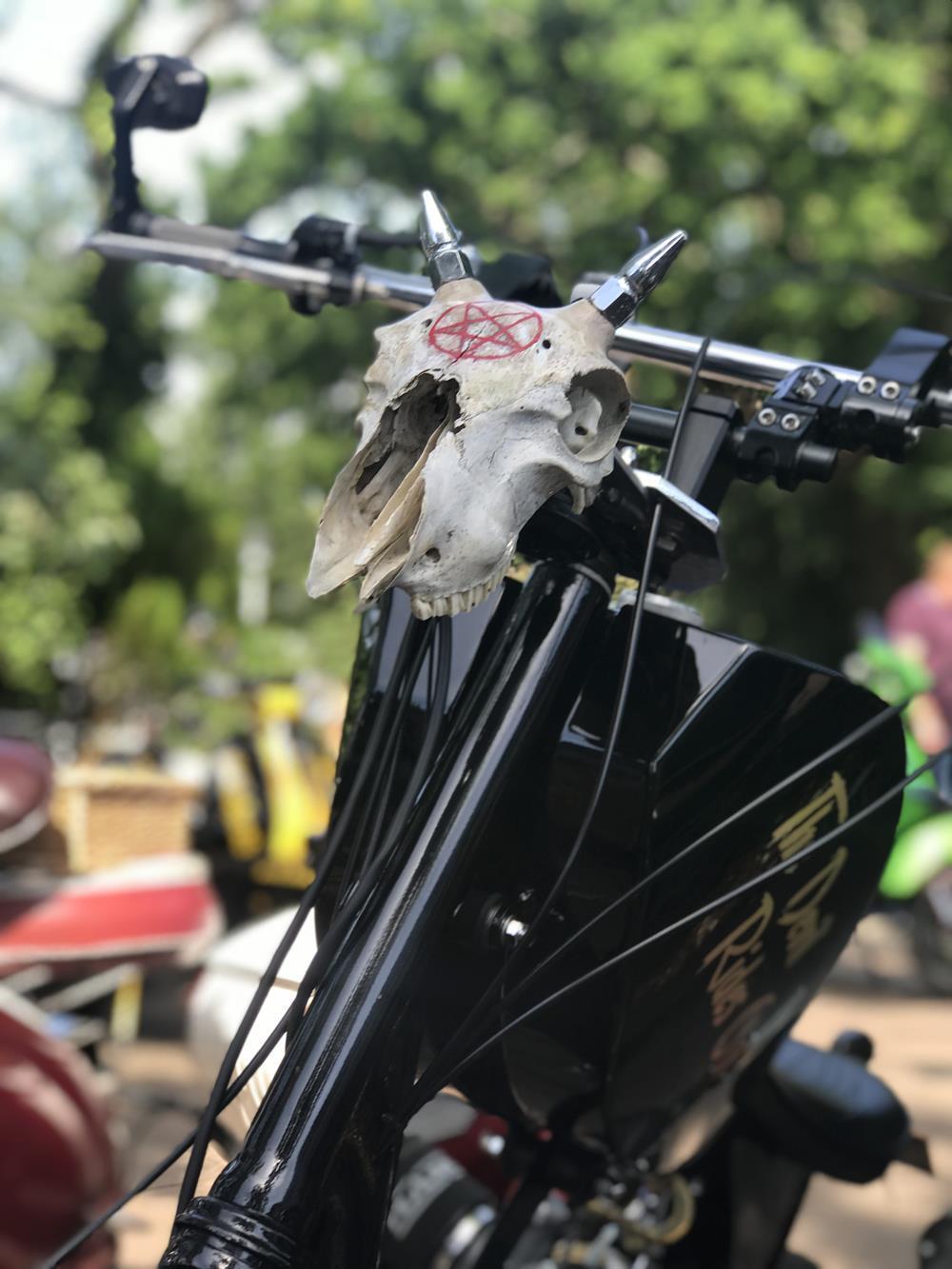 Skull accessory on Lambretta scooter