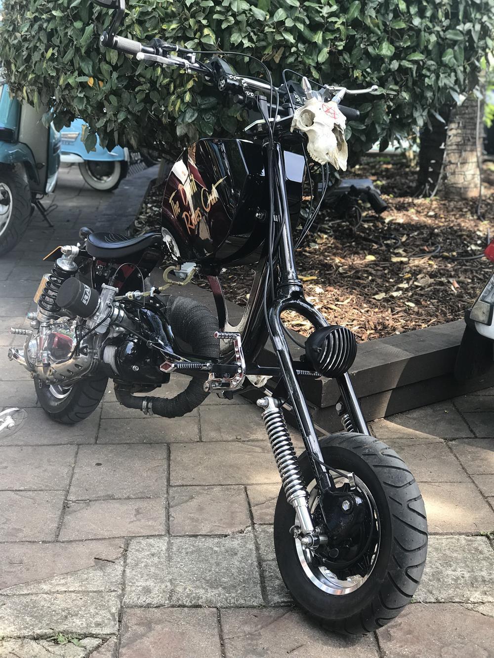 Lambretta chopper The Devil Rides Out with skull accessory