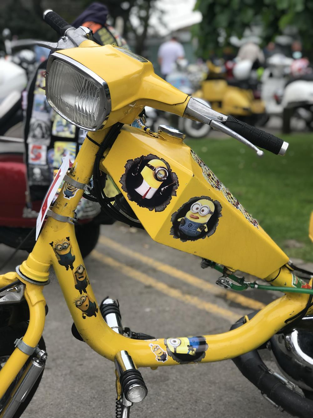 Yellow Lambretta petrol tank with Minion murals