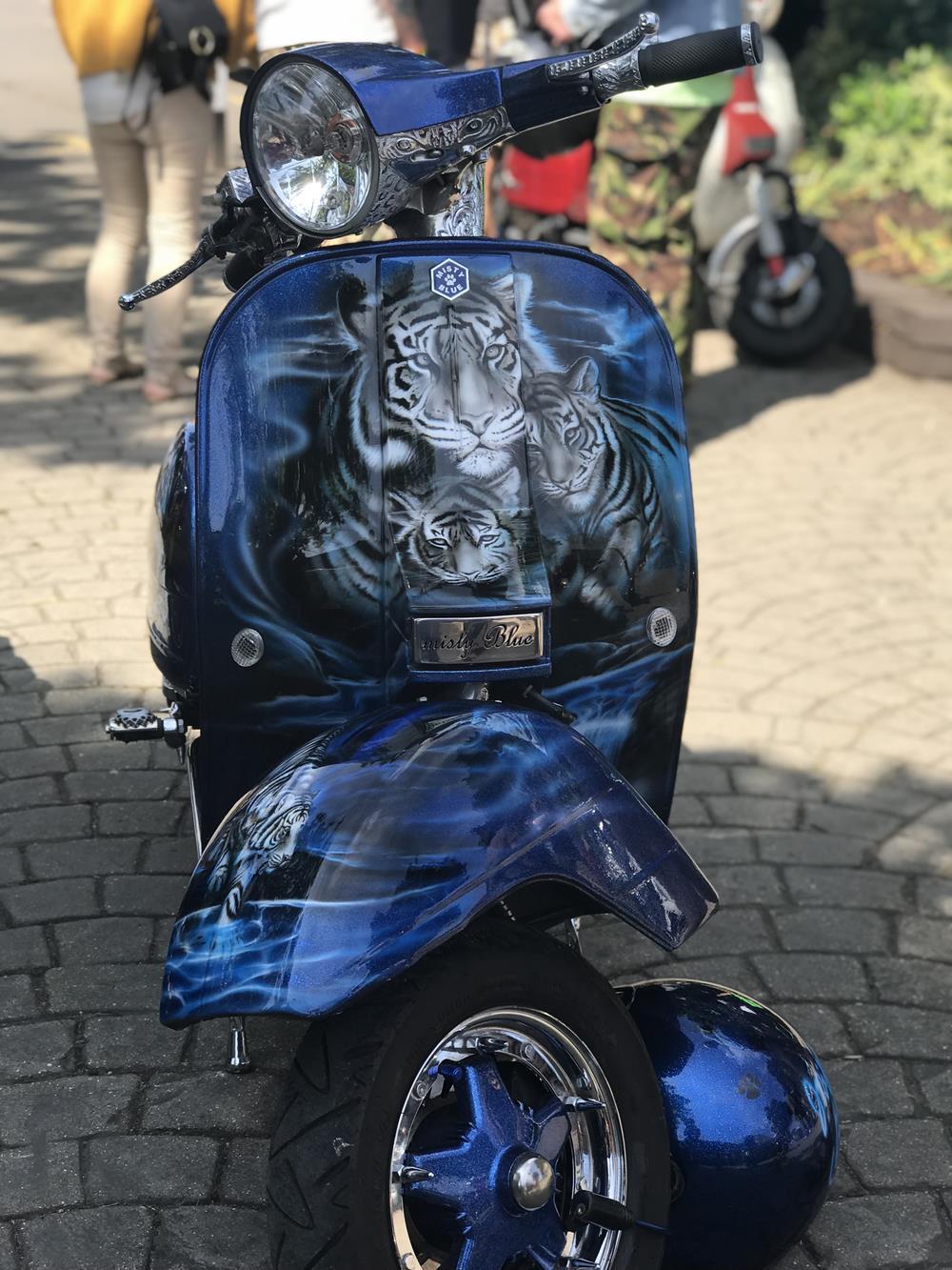 Misty Blue Vespa scooter