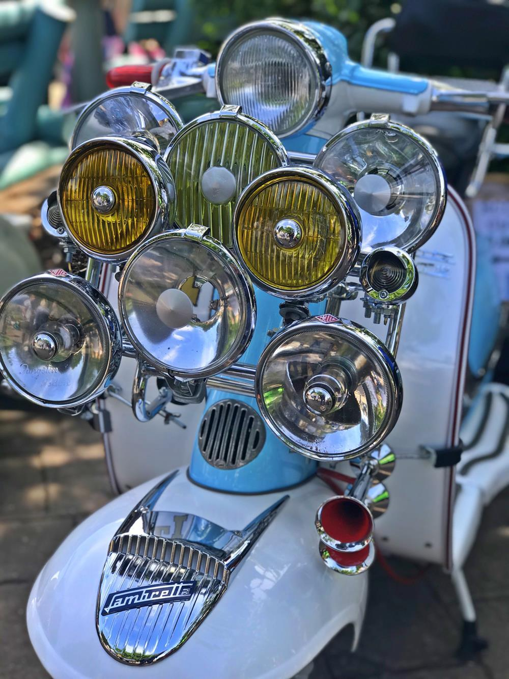 Mod style Lambretta with lights on the front rack