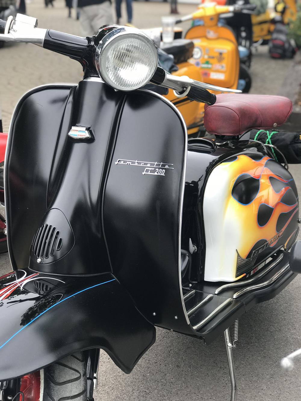 Black Lambretta Series 2 with flame murals on side panels