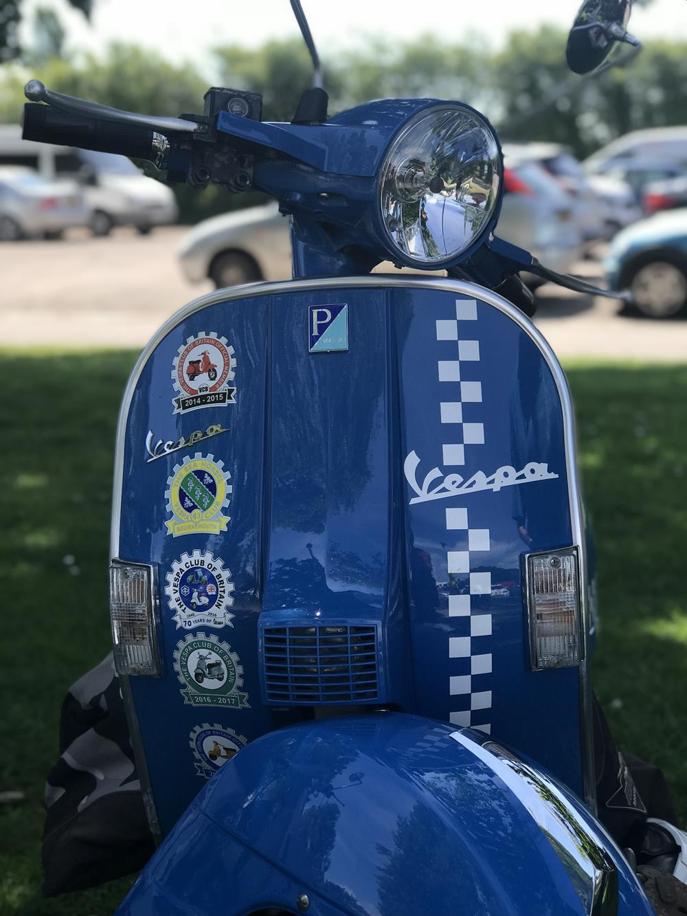 Blue Vespa scooter