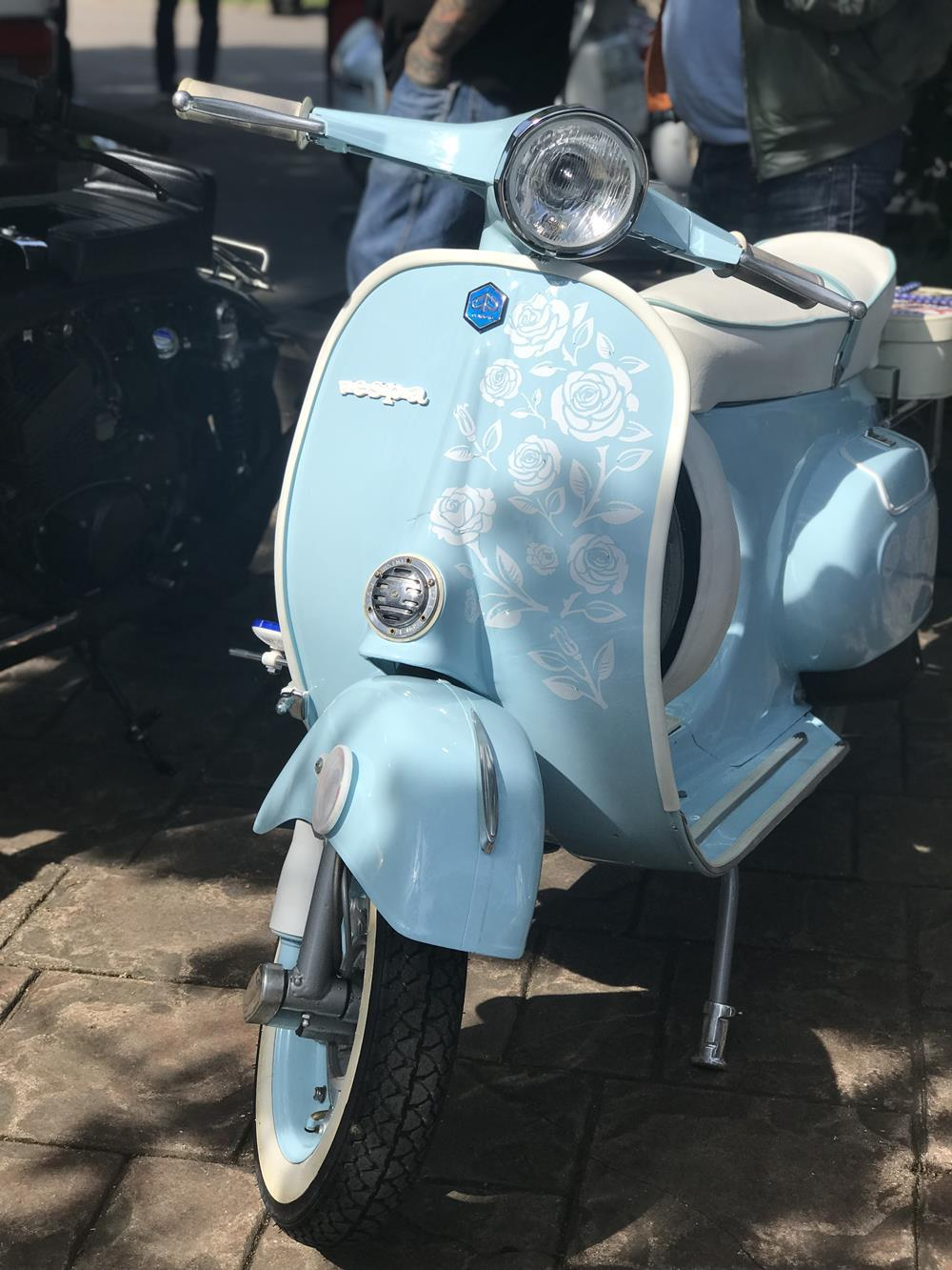 Sky blue Vespa smallframe scooter