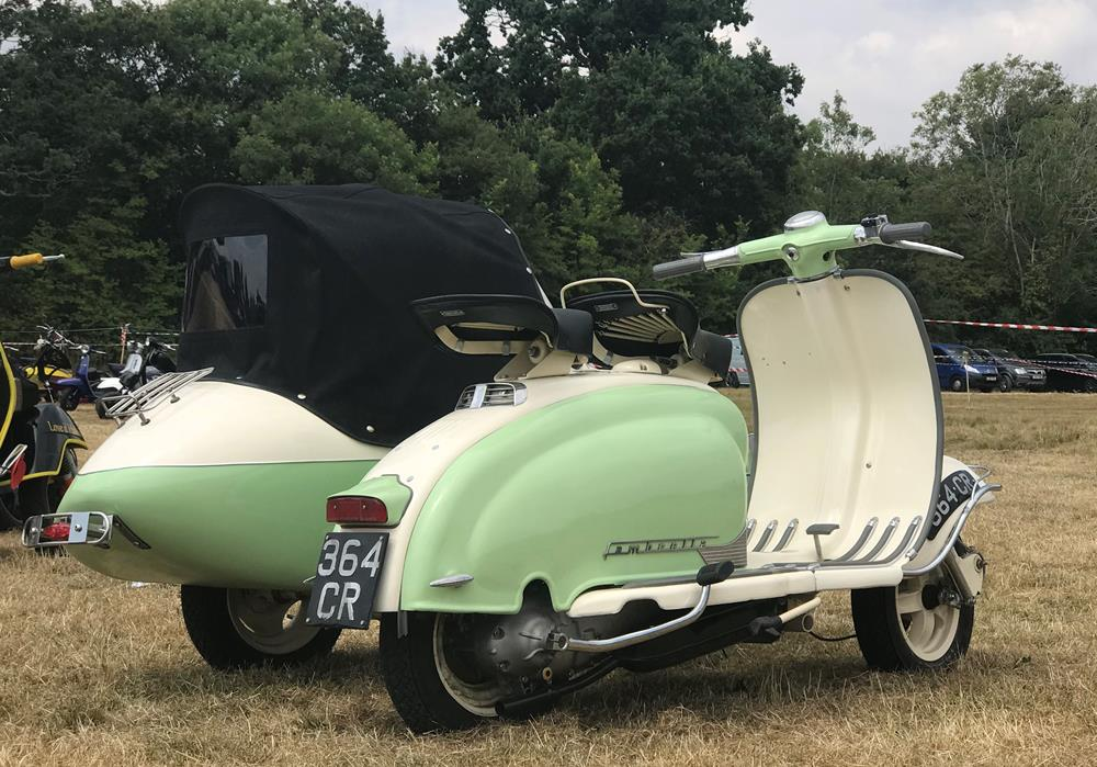 Rear view of Lambretta Series 1 and sidecar