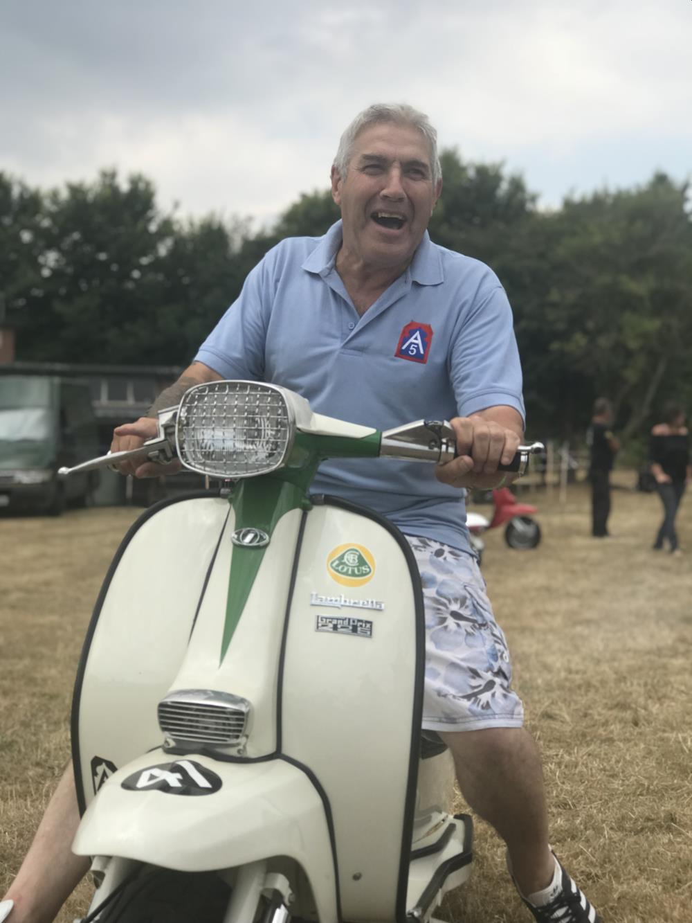John Barnett on Lotus-themed Lambretta scooter