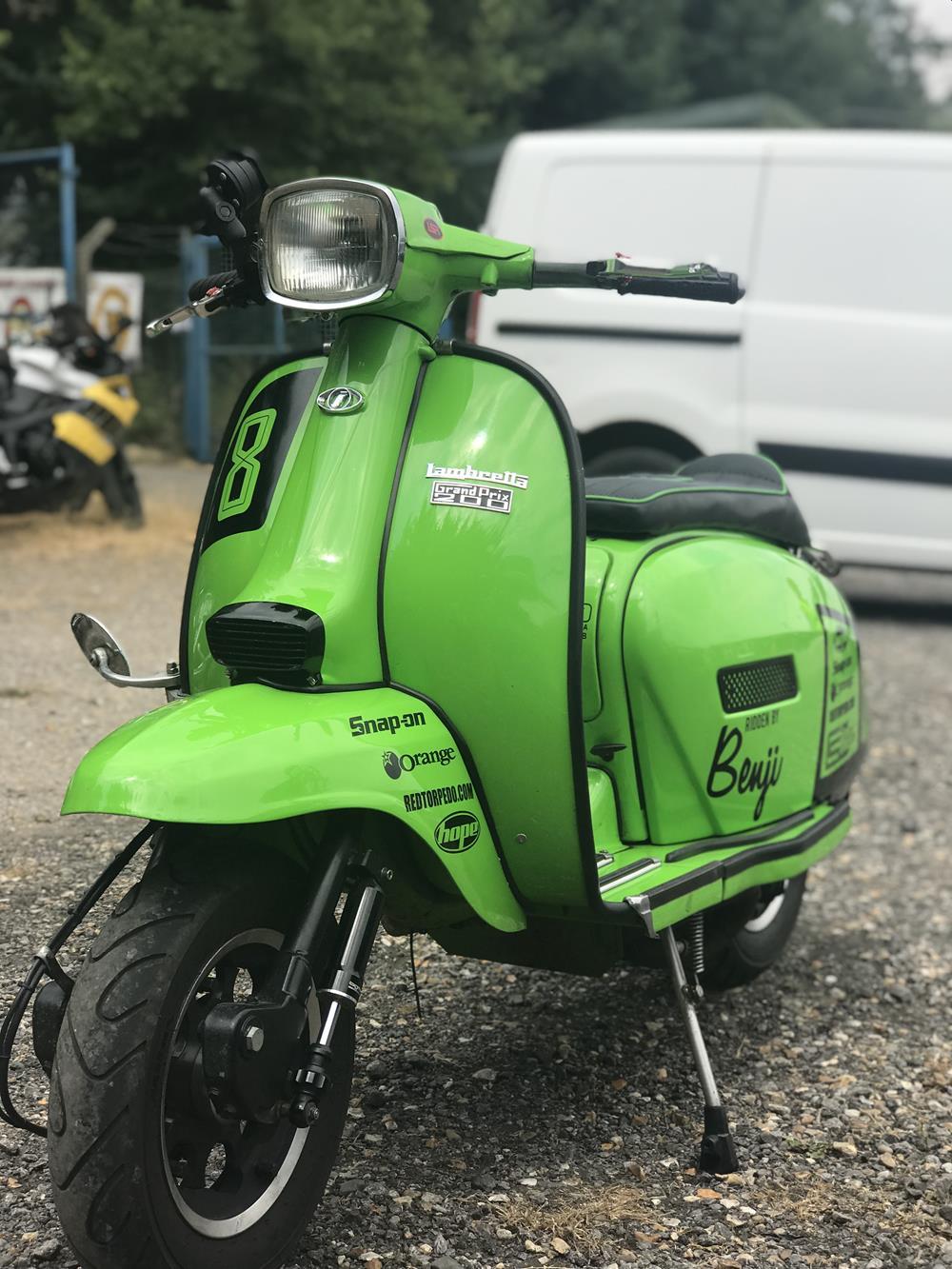 Green street-style Lambretta