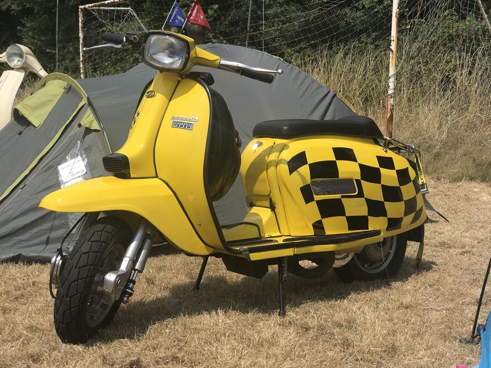 Yellow street racer Lambretta