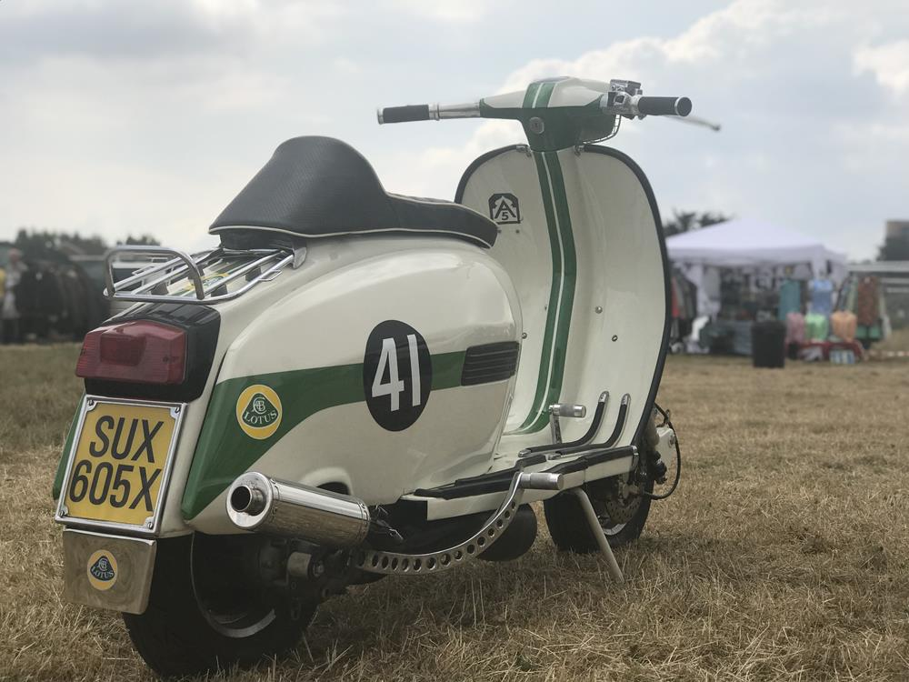 Side view of Lotus street style Lambretta scooter