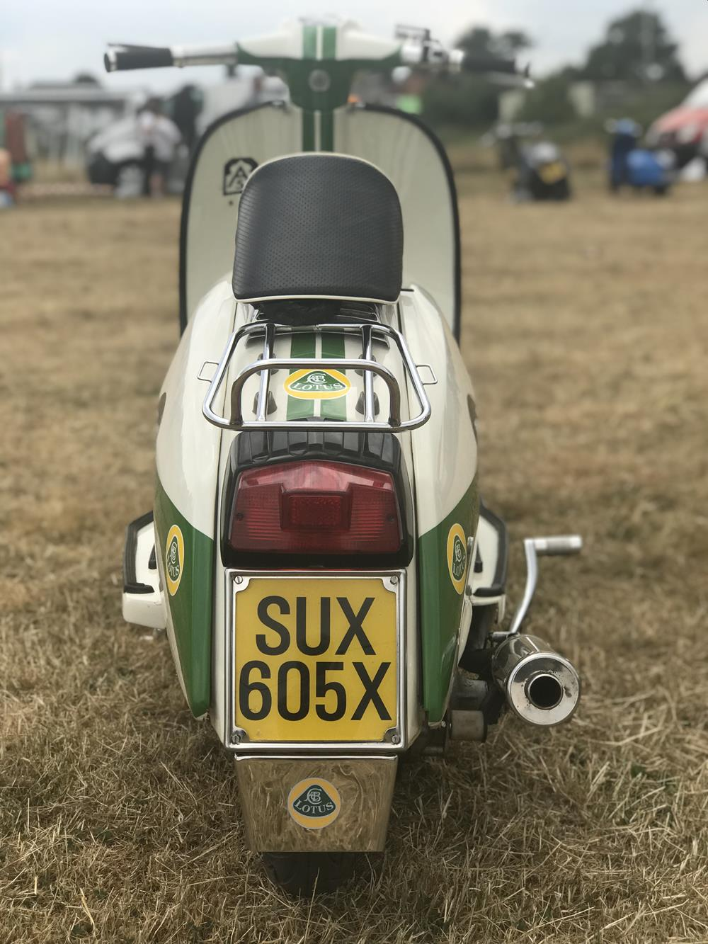 Rear view of Lambretta with Lotus theme