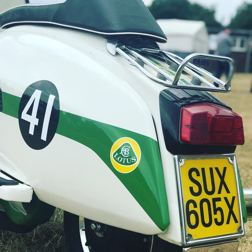 Side panel of Lambretta with Lotus racing theme