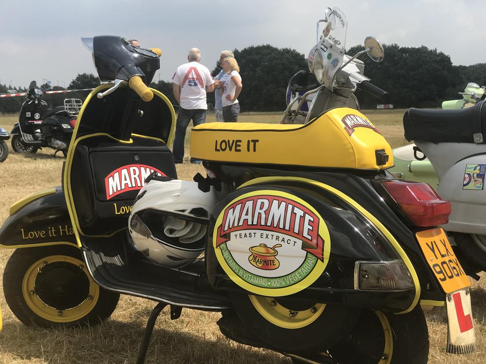 Marmite themed Vespa PX scooter