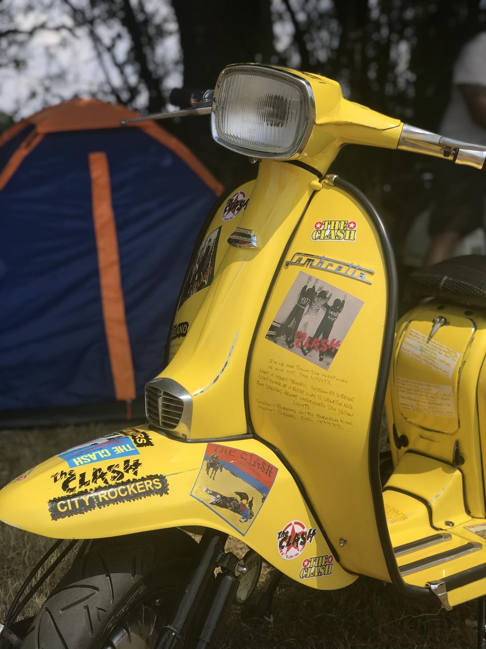 Yellow Lambretta with Clash theme