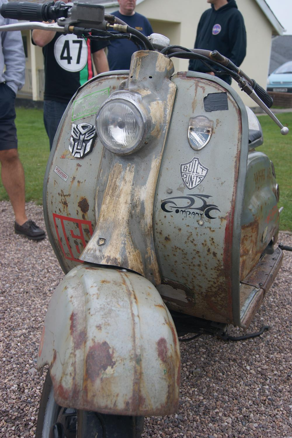 Rusty rat rod scooters include this Lambretta LD