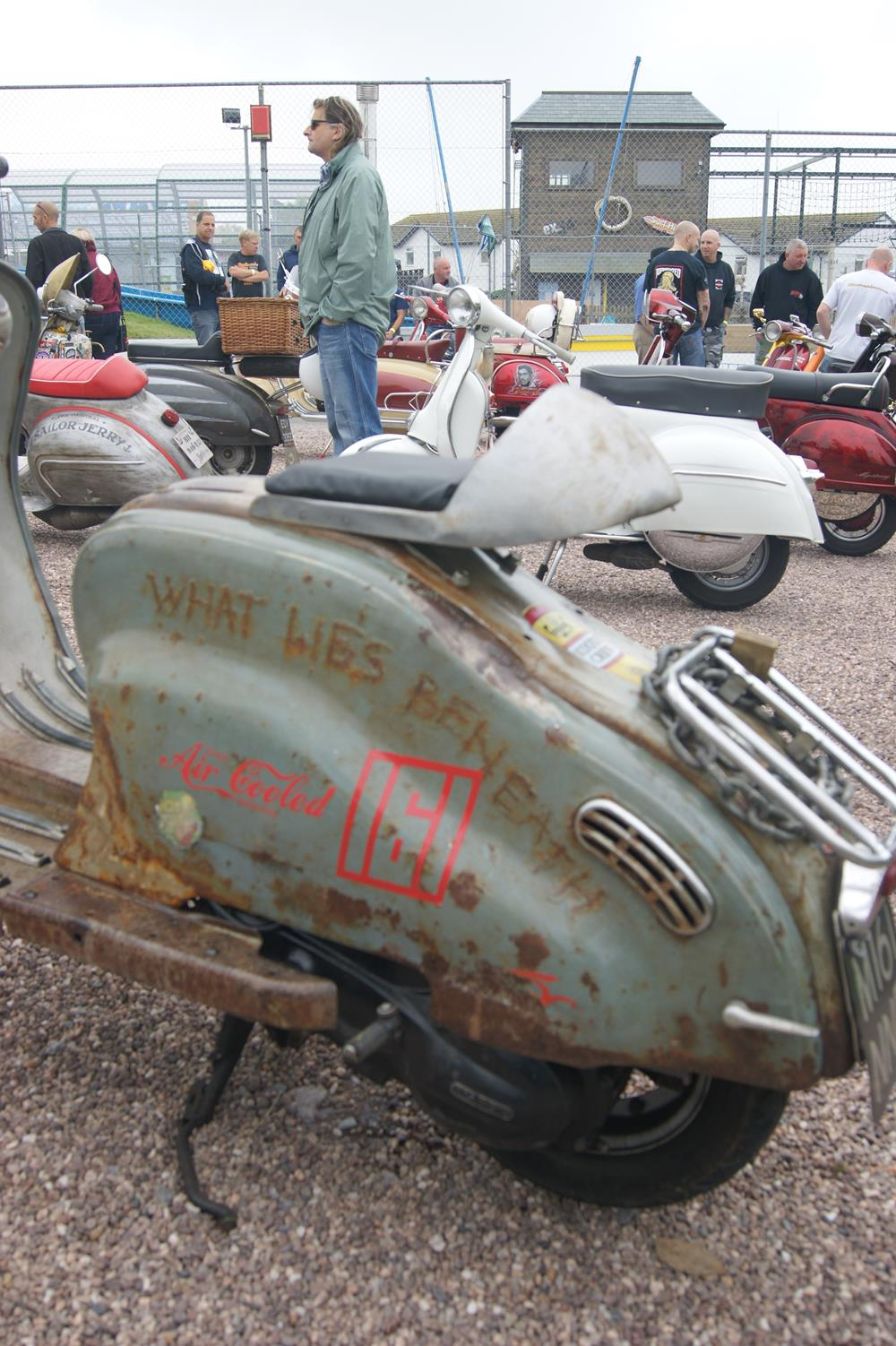 Lambretta LD with rusty text on the side panels, What Lies Beneath