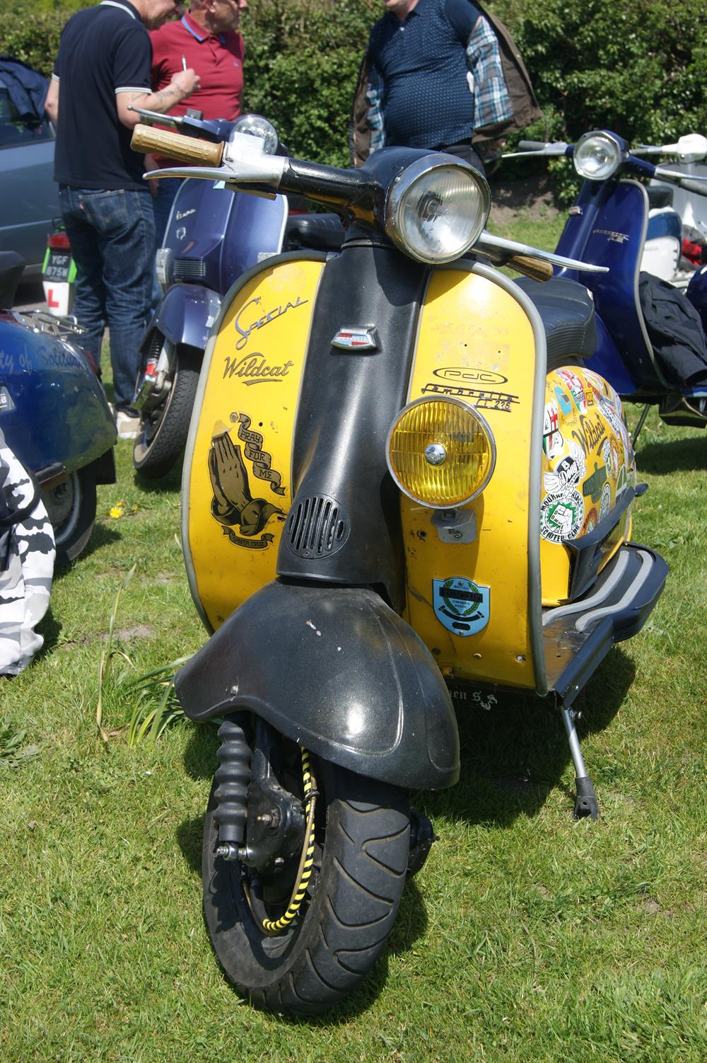 Yellow and black Series 2 Lambretta scooter