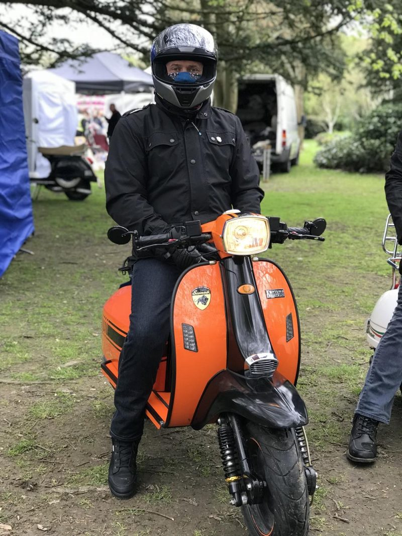 Richard from Buckinghamshire on his orange and black Scomadi scooter