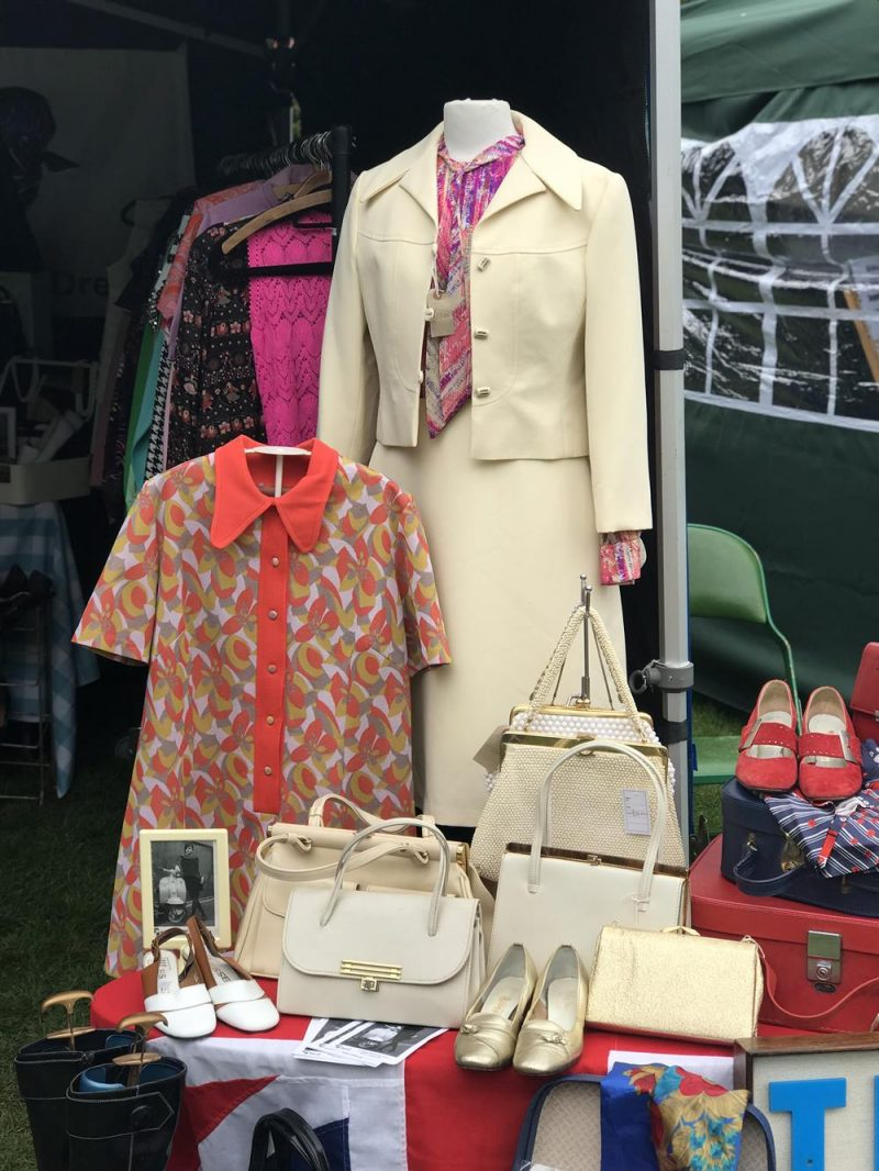 Teri England Attire display featuring vintage ladies clothes and accessories